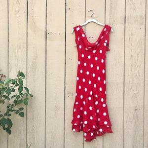 Red Polka Dot Ruffle Cowl Neck Chiffon Dress
